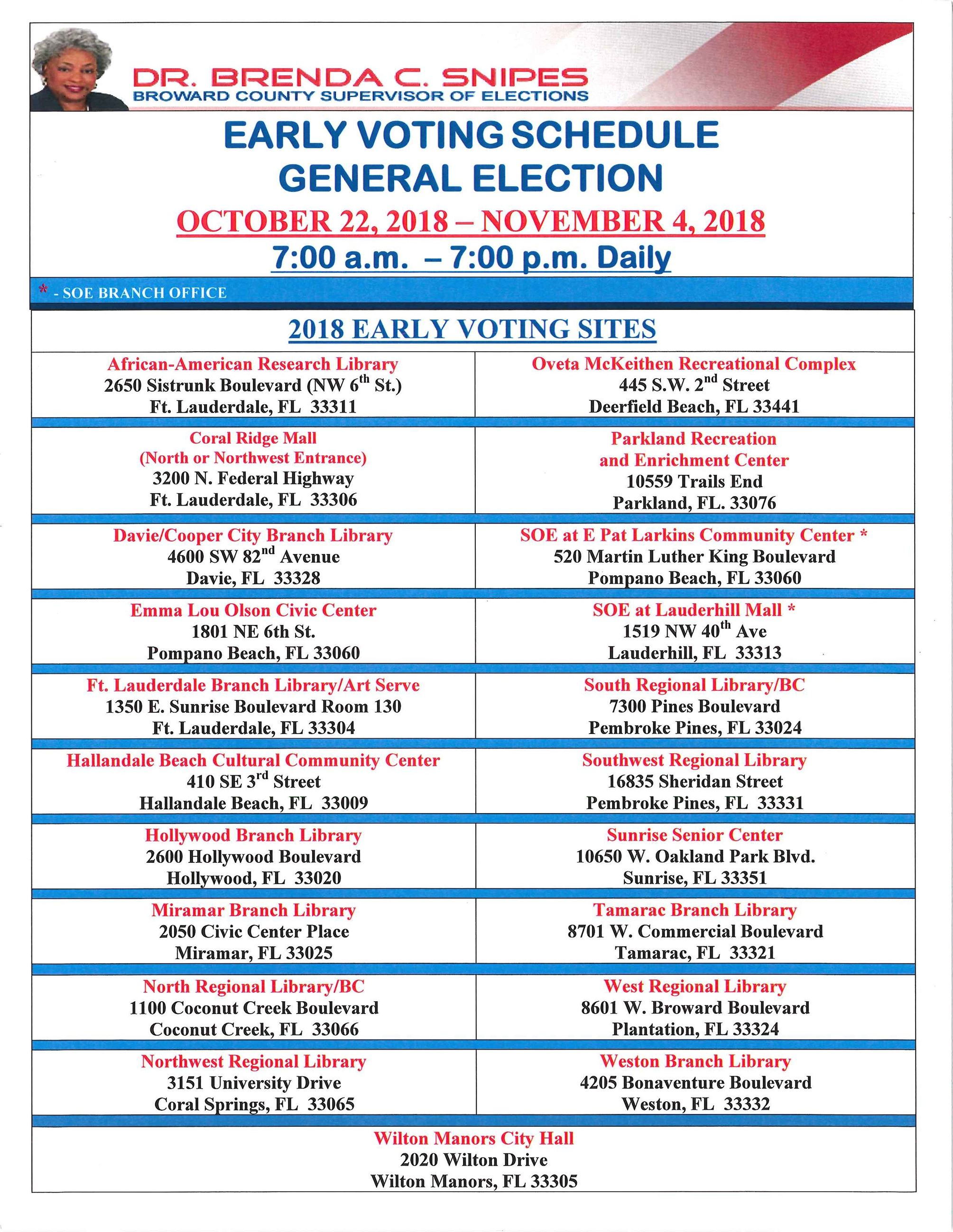 Early Voting Schedule - General Election 11-6-18