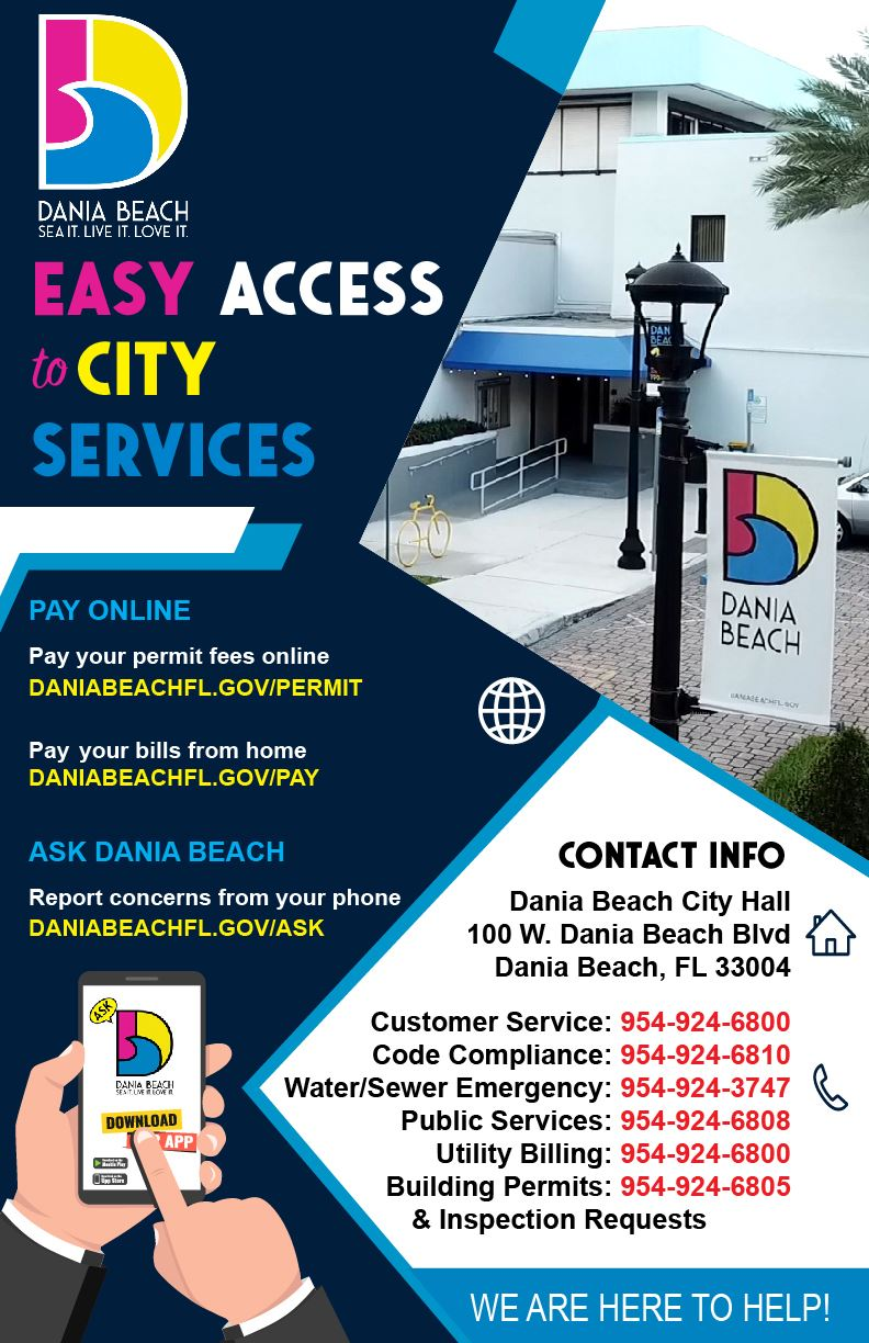 Dania Beach Easy Access to City Services and Ask Dania Beach App