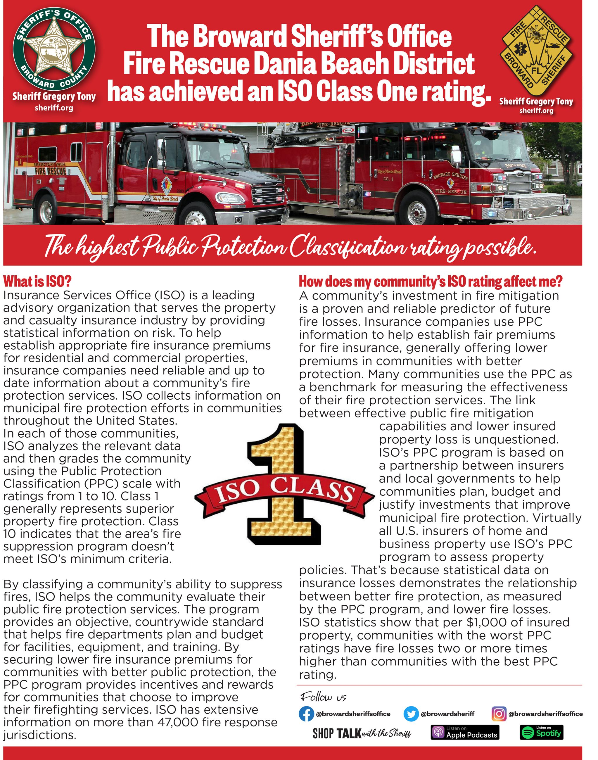 BSO Fire Rescue Dania Beach District Achieves ISO Class 1 Rating