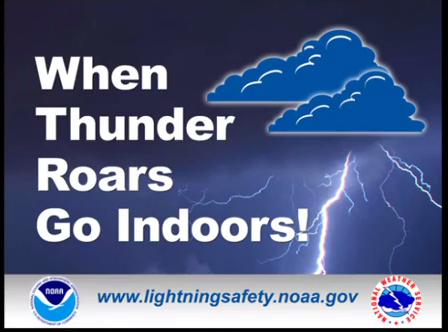 LIGHTNING IS A SEVERE HAZARD THAT MUST BE VIEWED SERIOUSLY. EVERYONE SHOULD IMMEDIATELY SEEK SHELTER ANY TIME THEY BELIEVE LIGHTNING THREATENS THEM, EVEN IF A SIGNAL HAS NOT BEEN SOUNDED. YOU WILL BE WARNED BY OUR THOR GUARD LIGHTNING PREDICTION SYSTEM, WHICH SOUNDS ONE 15 SECOND BLAST OF HORN SIGNALING SUSPENSION OF ALL ACTIVITIES (A STROBE LIGHT WILL BEGIN FLASHING AND REMAIN FLASHING UNTIL SAFE CONDITIONS RETURN). YOU SHOULD IMMEDIATELY SEEK AN APPROPRIATE, SAFE SHELTER. YOU MAY RESUME ACTIVITIES ONLY AFTER THREE 5 SECOND BLASTS OF THE HORN ARE SOUNDED AND THE STROBE LIGHT STOPS FLASHING. IF YOU REMAIN OUTDOORS AFTER THE WARNING IS ISSUED, YOU DO SO AT YOUR OWN RISK!!