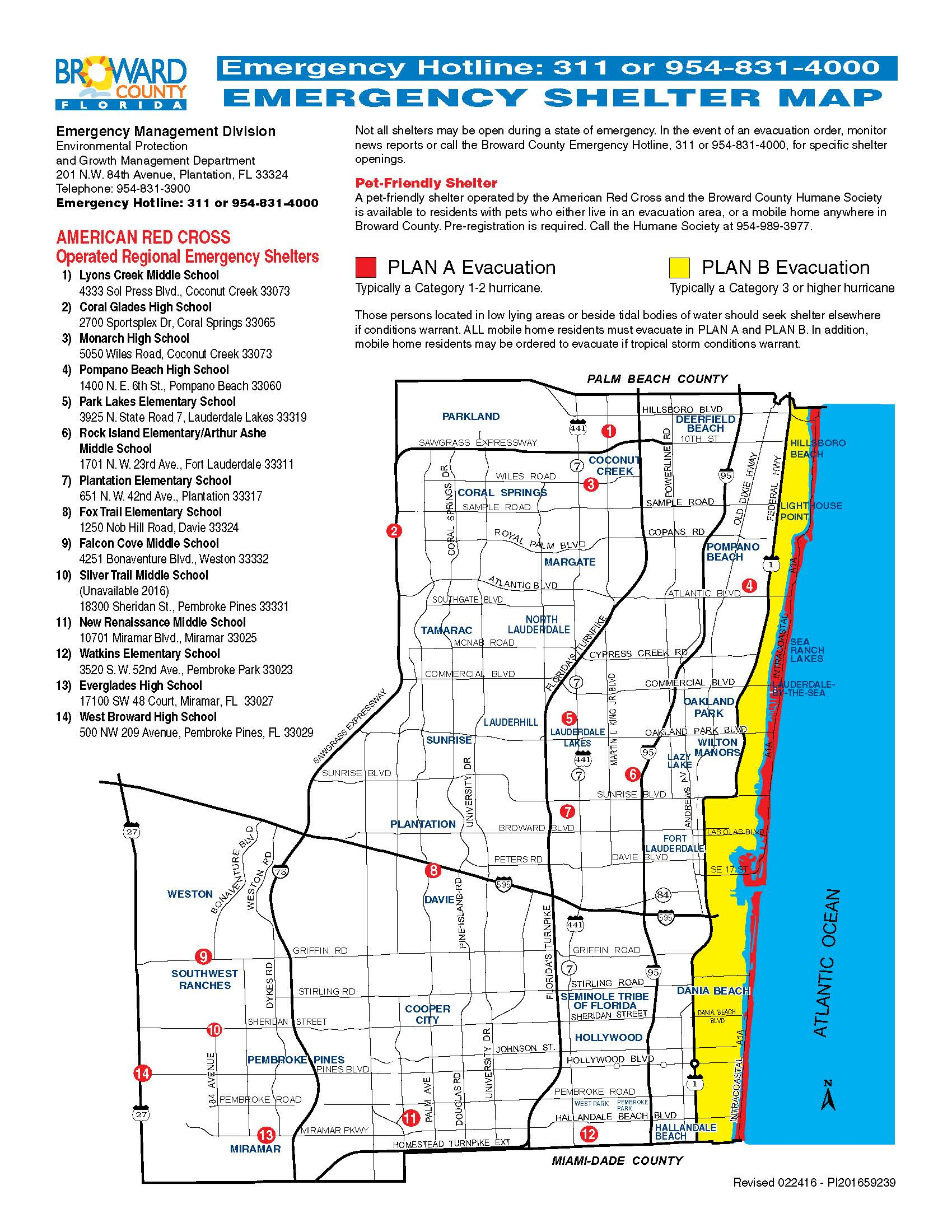 Emergency Shelter Map Broward County