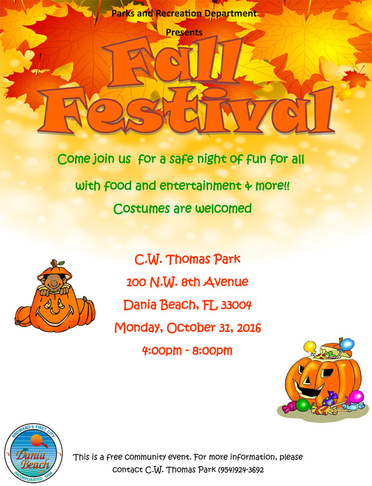 Fall Festival at CW Thomas Park on October 31, 2016 from 4 pm to 8 pm