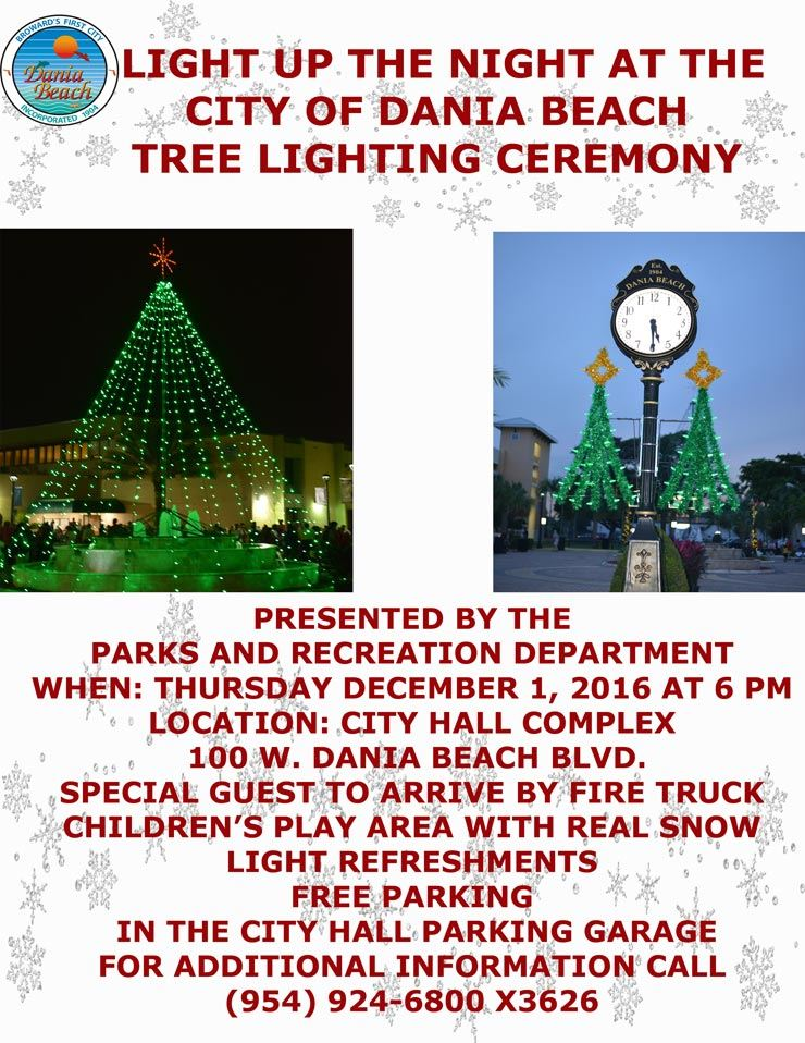 Light Up the Night at the City of Dania Beach Tree Lighting Ceremony, Thursday, December 1, 2016 at