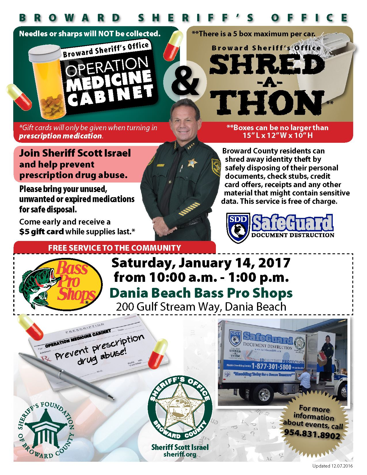 Shred-a-Thon & Operation Medicine Cabinet January 14th @ Bass Pro Shops  10 a.m. to 1 p.m.