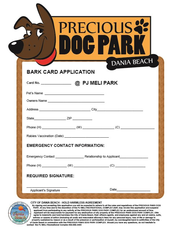 Precious Paws Bark Card Application