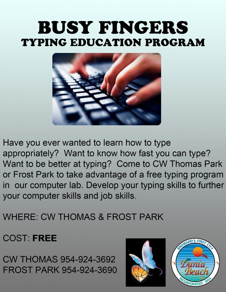 busy-fingers-typing-class at Frost Park Dania Beach